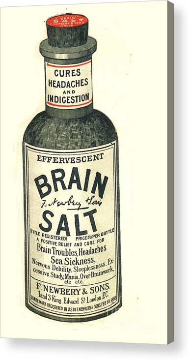 1890�s Acrylic Print featuring the drawing 1890s Uk Brain Salt Headaches Humour by The Advertising Archives