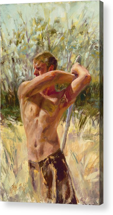 Swordplay Acrylic Print featuring the painting Wielding His Sword by Cheryl King