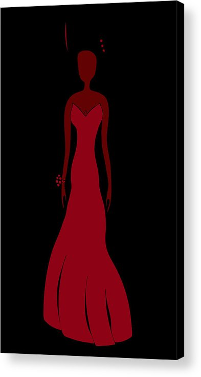 Fashion Art Acrylic Print featuring the painting Red Dress by Frank Tschakert