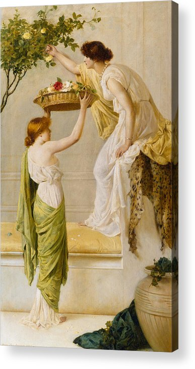 Basket Acrylic Print featuring the painting A Basket Of Roses - Grecian Girls by Henry Thomas Schaefer