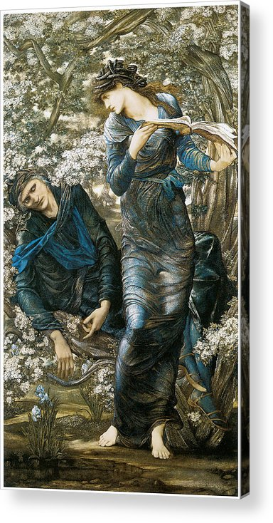 Edward Burne-jones Acrylic Print featuring the painting The Beguiling Of Merlin by Edward Burne-Jones
