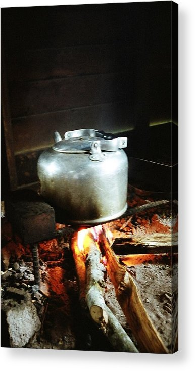 Antique Acrylic Print featuring the photograph Antique Water Kettle On A Fire In Malaysia by Gosta Eger