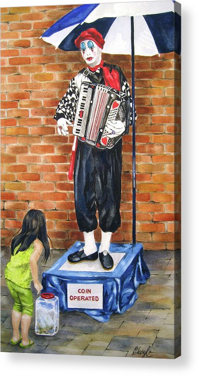 Mimes Acrylic Print featuring the painting Buskerfest Street Toronto by Cheryl Bannister