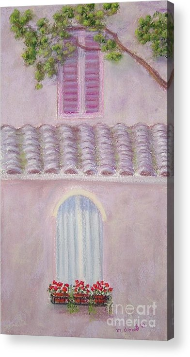 Window Boxes Acrylic Print featuring the painting La Casa Rosa Lunga Il Treve by Mary Erbert