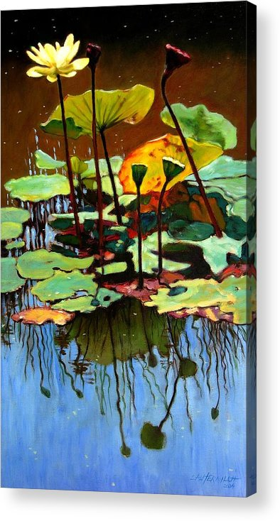 Lotus Flower Acrylic Print featuring the painting Lotus In July by John Lautermilch