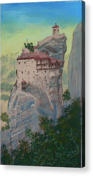 Landscape Acrylic Print featuring the painting St Nicholas Anapapsas Monastery - Meteora - Greece by Dan Bozich