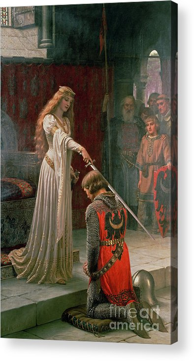 The Acrylic Print featuring the painting The Accolade by Edmund Blair Leighton