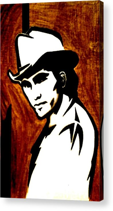 Portraits Acrylic Print featuring the painting Townes Van Zandt by Jeff DOttavio