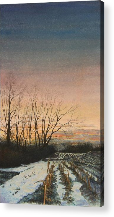 Landscape Acrylic Print featuring the painting Winter Field by Stephen Bluto