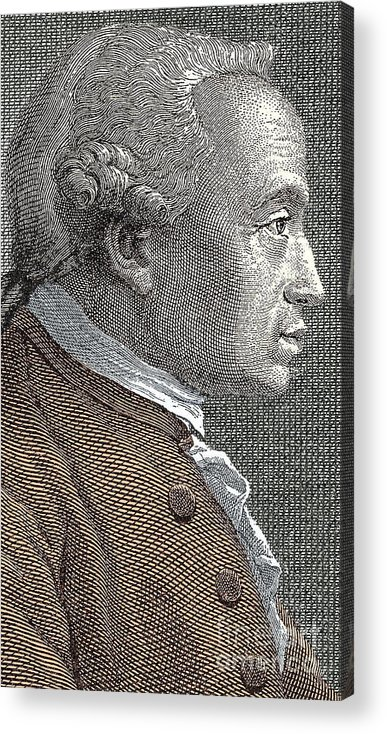 Kant Acrylic Print featuring the drawing A Portrait Of Immanuel Or Emmanuel Kant by European School