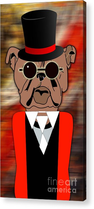 Bull Dog Acrylic Print featuring the mixed media Big Bull Dog by Marvin Blaine