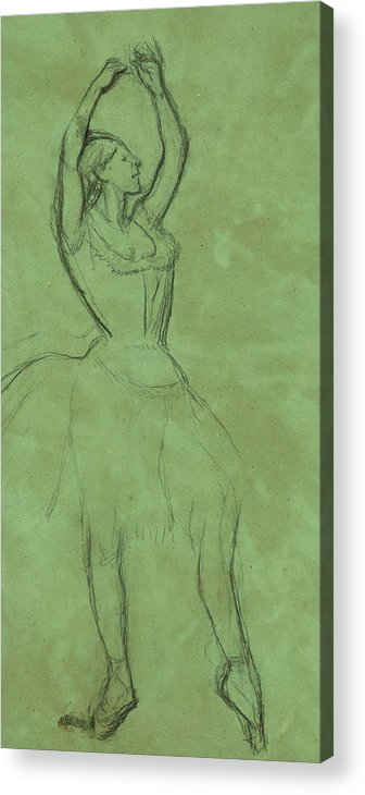 Dancer Acrylic Print featuring the drawing Dancer With Raised Arms by Edgar Degas