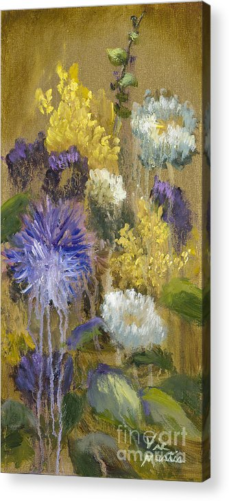 Flower Acrylic Print featuring the painting Drippy Bouquet With Gold Leaf By Vic Mastis by Vic Mastis
