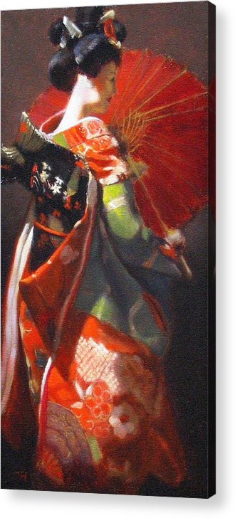 Geisha Acrylic Print featuring the painting Geisha Girl With Red Umbrella by Takayuki Harada