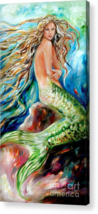 Mermaid Acrylic Print featuring the painting Jeanne Le Mer by Linda Olsen
