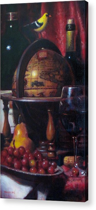 Wine Painting Acrylic Print featuring the painting Red Wine With Gold Finch Little Company by Takayuki Harada