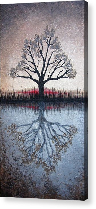 Tree Acrylic Print featuring the painting Reflecting Tree by Janet King