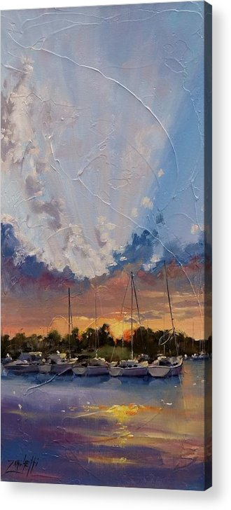 Sunset Acrylic Print featuring the painting Sunset Over Bay Point by Laura Lee Zanghetti