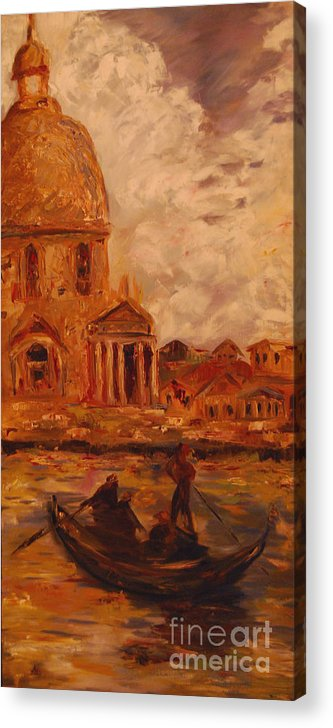 Boats Acrylic Print featuring the painting Venice Morning by Nancy Bradley