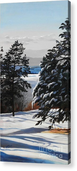 Winter Scene Acrylic Print featuring the painting Winter Serenity by Suzanne Schaefer