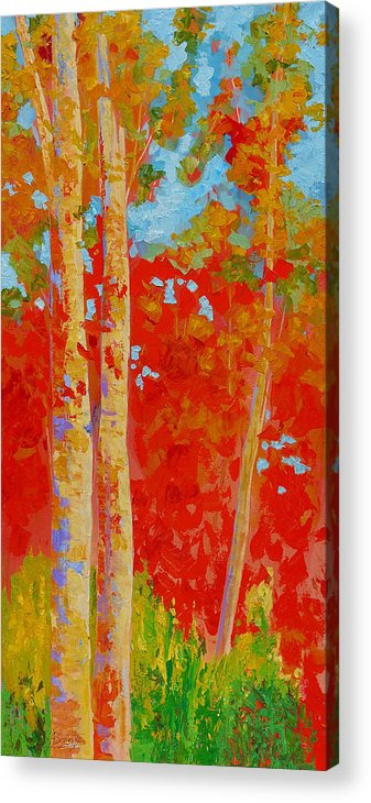 Trees Acrylic Print featuring the painting Duo by Bente Hansen