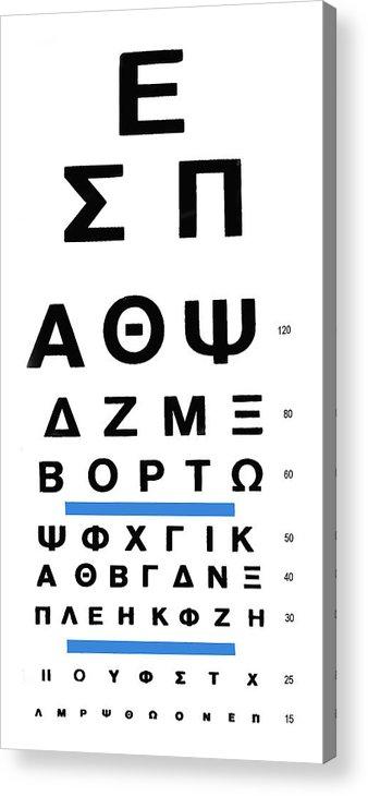 Greek Eye Chart Acrylic Print featuring the photograph Greek Eye Chart by Larry Mulvehill