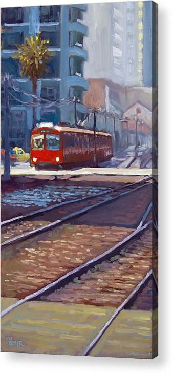 Trolley Acrylic Print featuring the painting Red Trolley by Scott Palmer