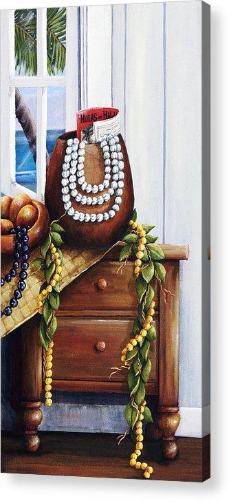 Acrylic Acrylic Print featuring the painting Hawaiian Still Life Panel by Sandra Blazel - Printscapes