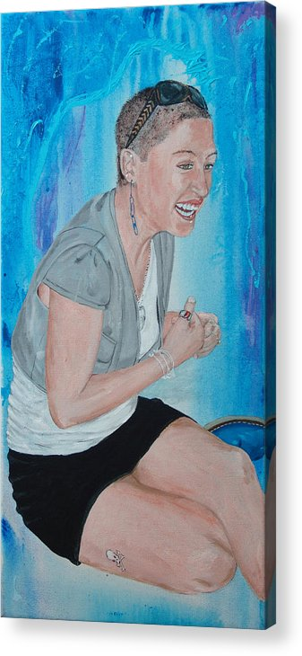 Kevin Callahan Woman Acrylic Print featuring the painting Blue Money by Kevin Callahan
