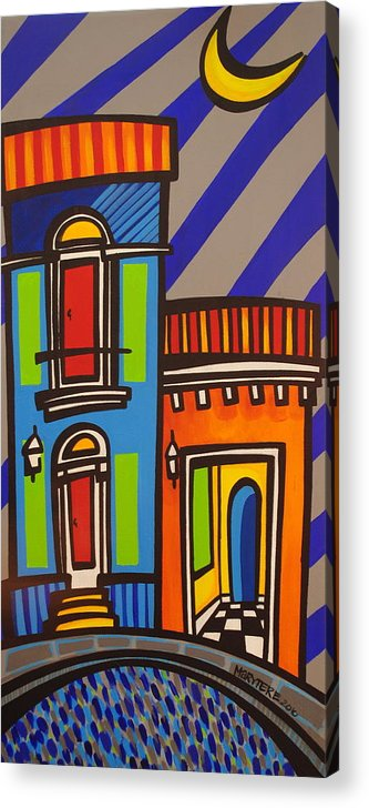 Puerto Rico Acrylic Print featuring the painting Calle Luna by Mary Tere Perez