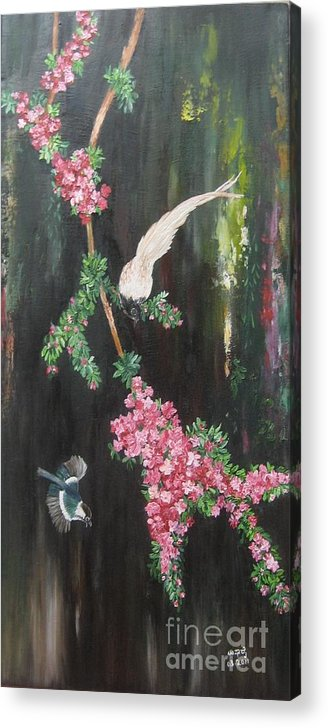 Nature Acrylic Print featuring the painting Colours Of Life by Usha Rai