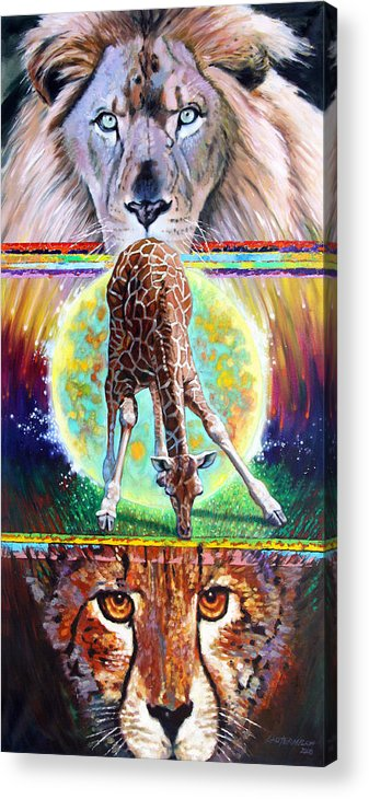 Lion Acrylic Print featuring the painting Eternal Nature Of Our Universe by John Lautermilch