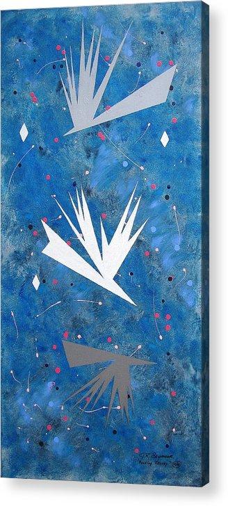 Birds And Diamond Stars Acrylic Print featuring the painting Feeding Frenzy by J R Seymour