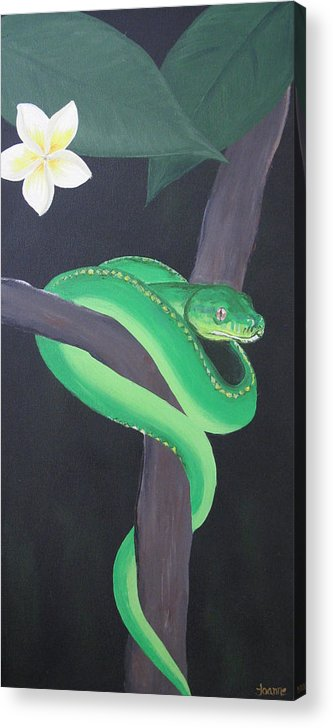 Green Acrylic Print featuring the painting Green Tree Python by Joanne Seath
