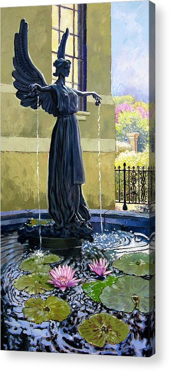 Garden Fountain Acrylic Print featuring the painting Living Waters by John Lautermilch