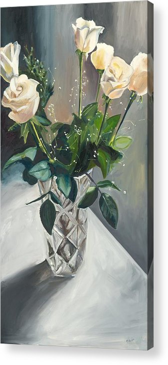 White Roses Acrylic Print featuring the painting Love And Roses by Kathleen Heese