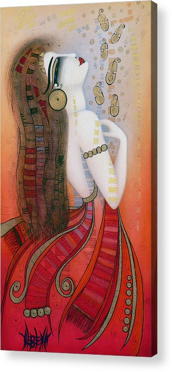 Red Acrylic Print featuring the painting My Soul Is A Moan... by Albena Vatcheva