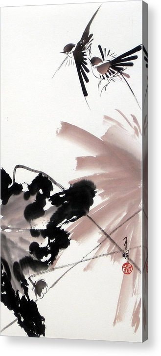 Lily Pond Acrylic Print featuring the painting Nesting From Dawn To Dusk by Ming Yeung