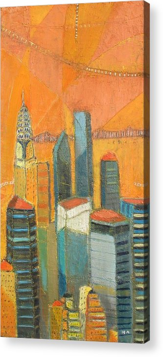 Acrylic Print featuring the painting Nyc In Orange by Habib Ayat