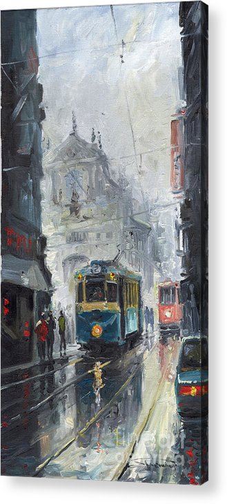 Oil On Canvas Acrylic Print featuring the painting Prague Old Tram 04 by Yuriy Shevchuk