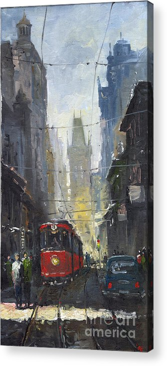 Oil On Canvas Paintings Acrylic Print featuring the painting Prague Old Tram 05 by Yuriy Shevchuk
