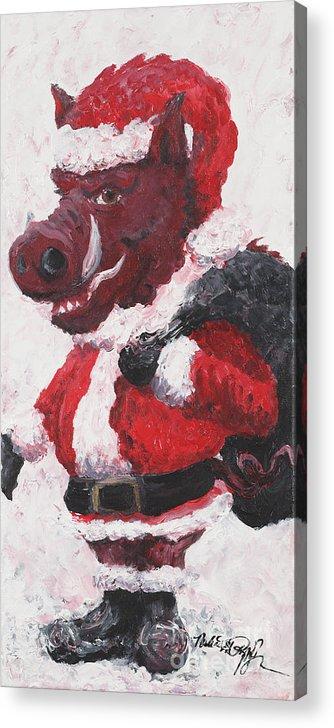 Santa Acrylic Print featuring the painting Razorback Santa by Nadine Rippelmeyer