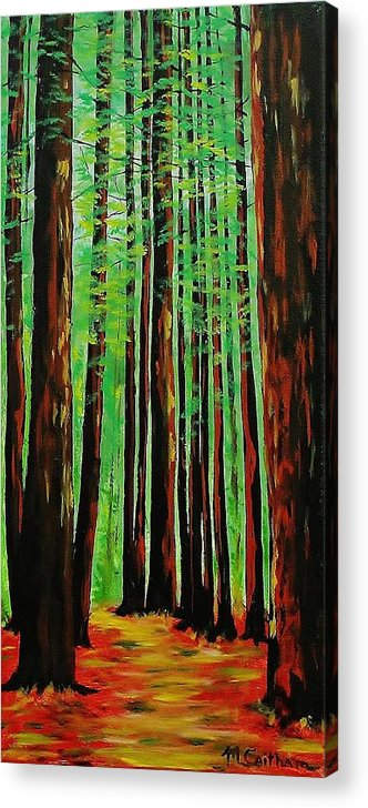 Redwoods Acrylic Print featuring the painting Redwoods Majestic 2 by Mike Caitham