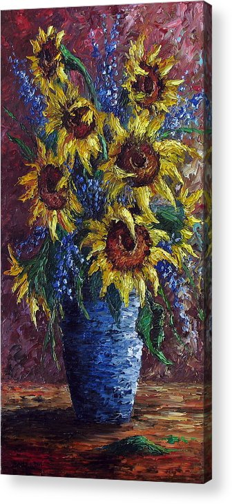 Flowers Acrylic Print featuring the painting Sunflower Bouquet by David G Paul