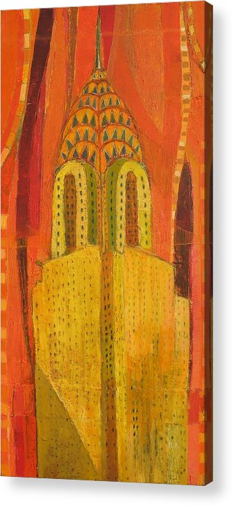 Abstract Cityscape Acrylic Print featuring the painting The Chrysler In Red by Habib Ayat