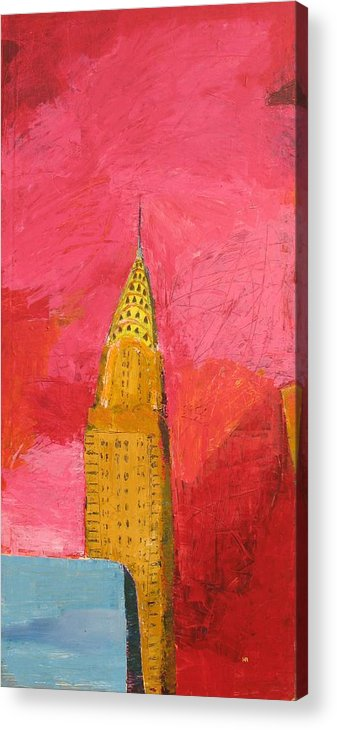 Nyc Acrylic Print featuring the painting The Chrysler With Red by Habib Ayat