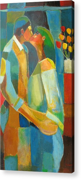 Love Abstract Acrylic Print featuring the painting The Sweet Kiss by Habib Ayat