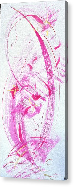 Abstract Painting Acrylic Print featuring the painting Swirling In Magenta Pink by Asha Carolyn Young