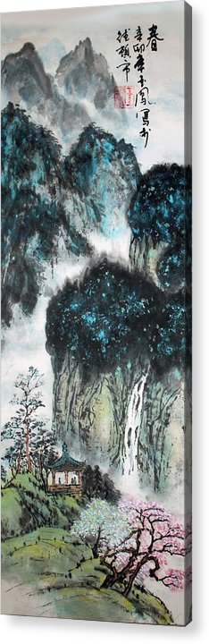 Chinese Brush Painting Acrylic Print featuring the painting Spring by Yufeng Wang
