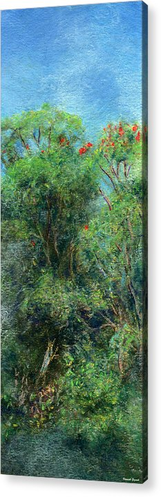 Rainbow Colors Pastel Acrylic Print featuring the painting Trees Of Kokee by Kenneth Grzesik